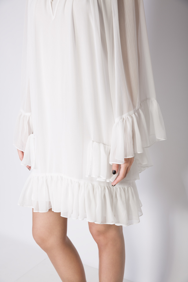 Ruffled crepe mini dress Monarh image 3