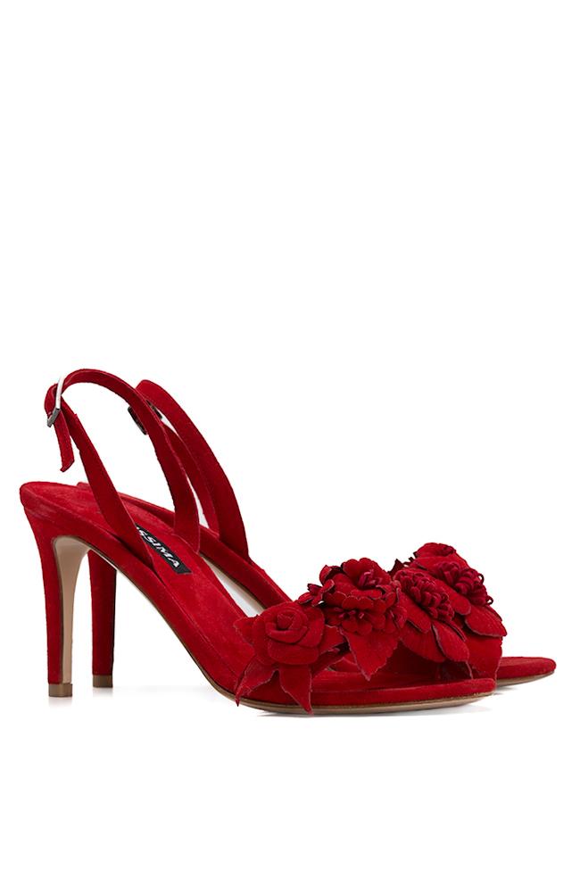 Sandale din piele intoarsa cu aplicatii florale Ginissima imagine 1