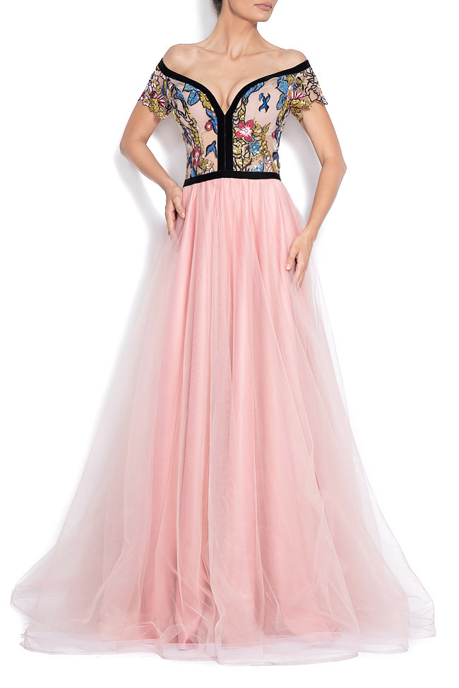 Off-the-shoulder embroidered tulle and taffeta gown Bien Savvy image 0