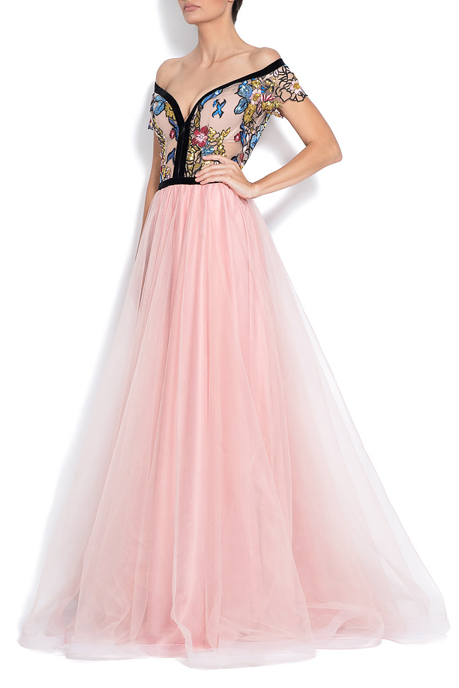 Off-the-shoulder embroidered tulle and taffeta gown Bien Savvy image 1