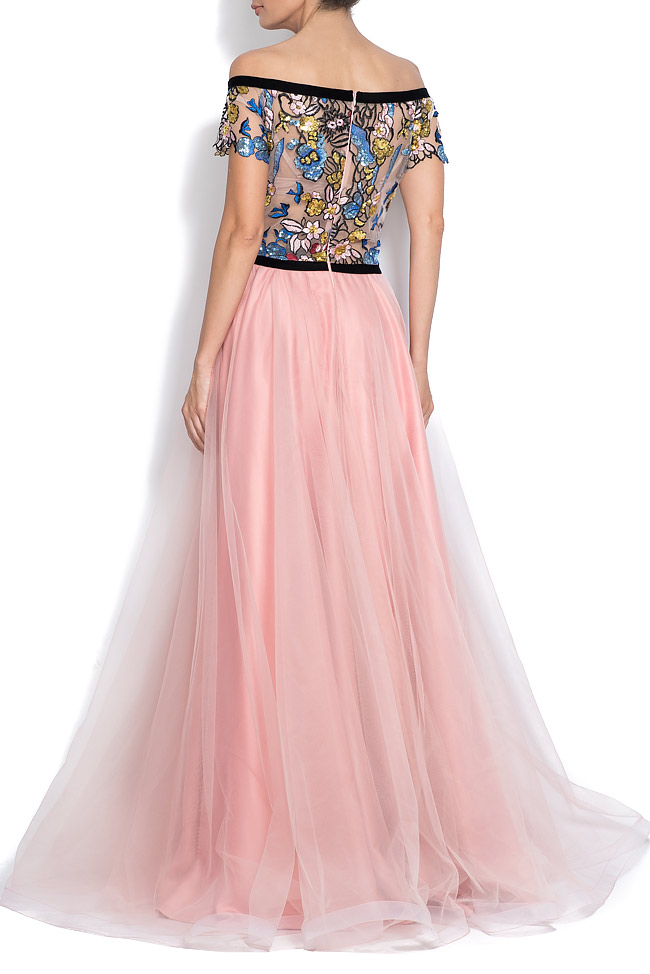 Off-the-shoulder embroidered tulle and taffeta gown Bien Savvy image 2