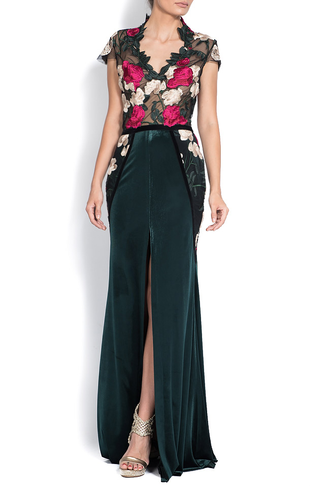 Embroidered silk velvet and lace gown Bien Savvy image 0