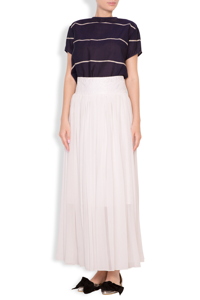 Silk-blend pleated maxi skirt Oana Manolescu image 0