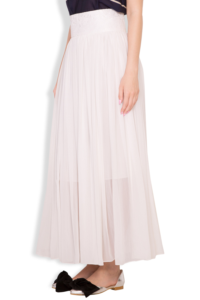 Silk-blend pleated maxi skirt Oana Manolescu image 1