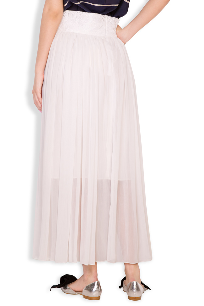Silk-blend pleated maxi skirt Oana Manolescu image 2