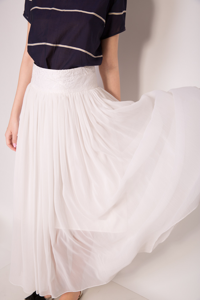 Silk-blend pleated maxi skirt Oana Manolescu image 3