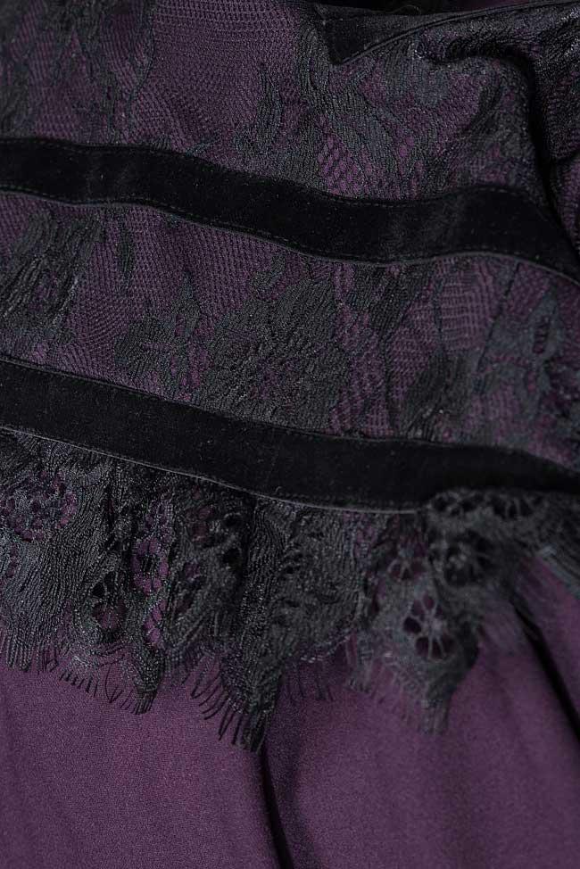 Rochie din crep si dantela Chantilly cu insertii din catifea Bien Savvy imagine 4