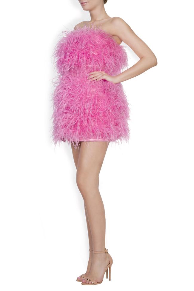 Rochie din bumbac si pene de strut Moulin Rouge OMRA imagine 1