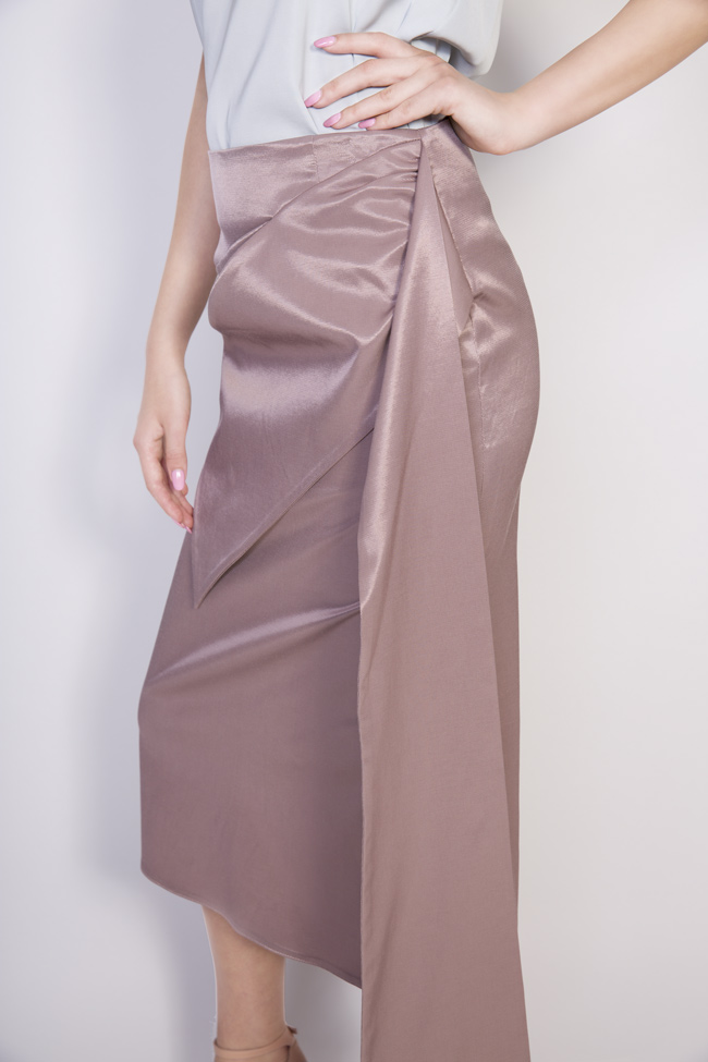 Darling satin cotton midi skirt DALB by Mihaela Dulgheru image 3