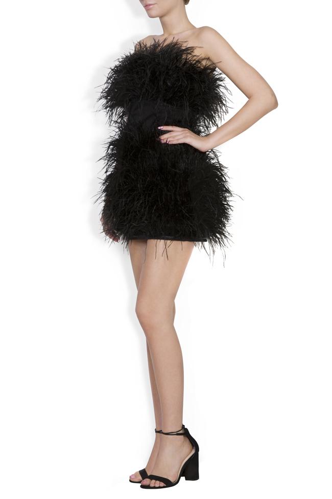 Rochie din bumbac si pene de strut Black Moulin Rouge OMRA imagine 1