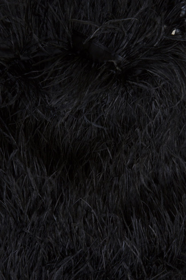Robe en coton et plumes d'autruche Black Moulin Rouge OMRA image 5