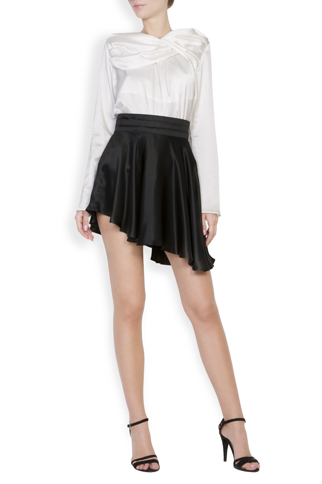 Asymmetric silk satin mini skirt Grigori Ciliani image 0