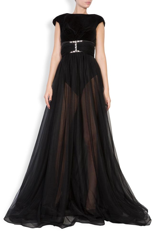 Maxi dress with velvet top and tulle skirt  Monarh image 0