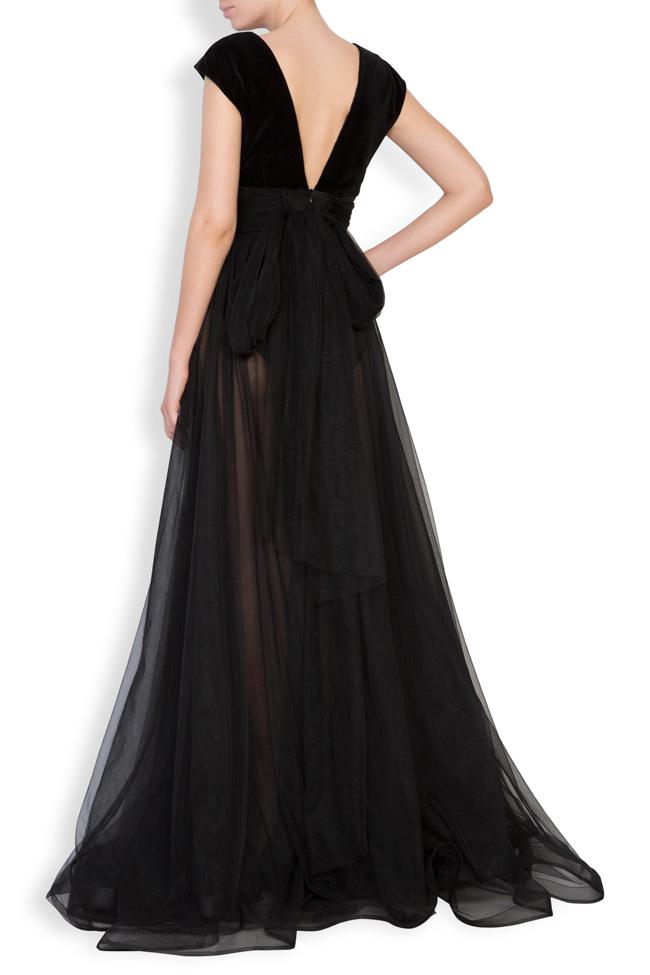 Maxi dress with velvet top and tulle skirt  Monarh image 3