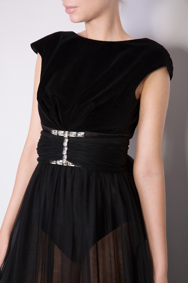 Maxi dress with velvet top and tulle skirt  Monarh image 2