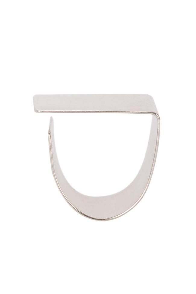 Platitude Square silver ring Monom image 0