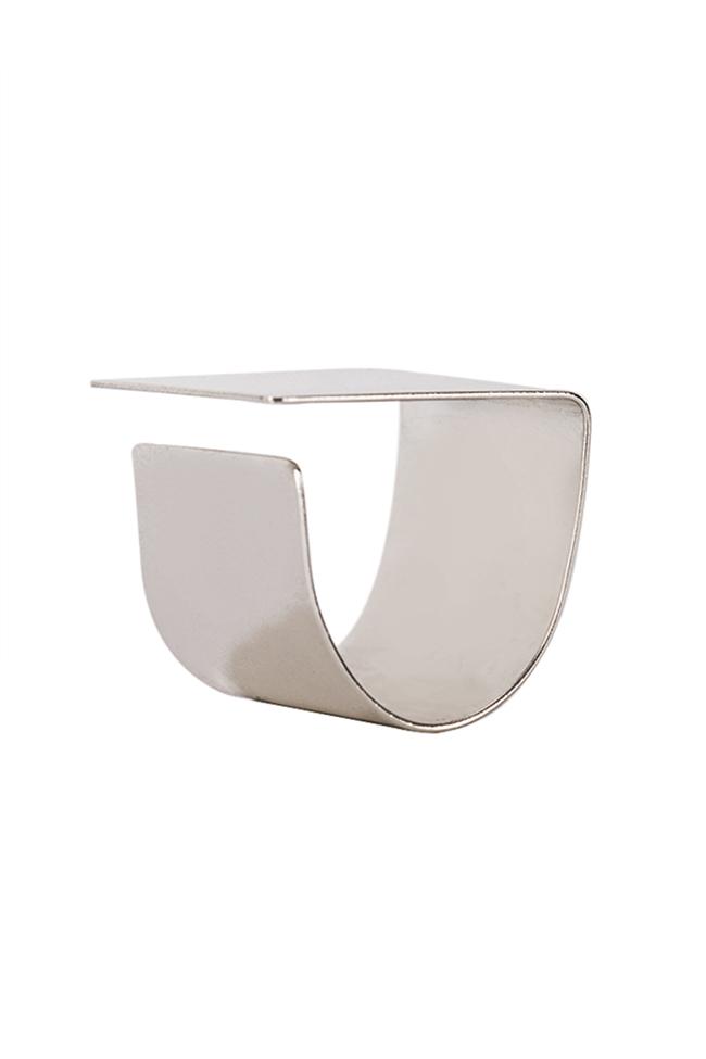 Platitude Square silver ring Monom image 1