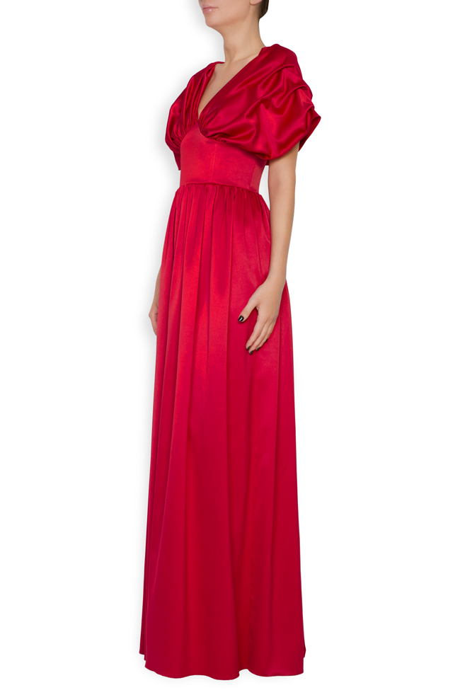 Draped off-the-shoulder satin gown Bluzat Cocktail image 1