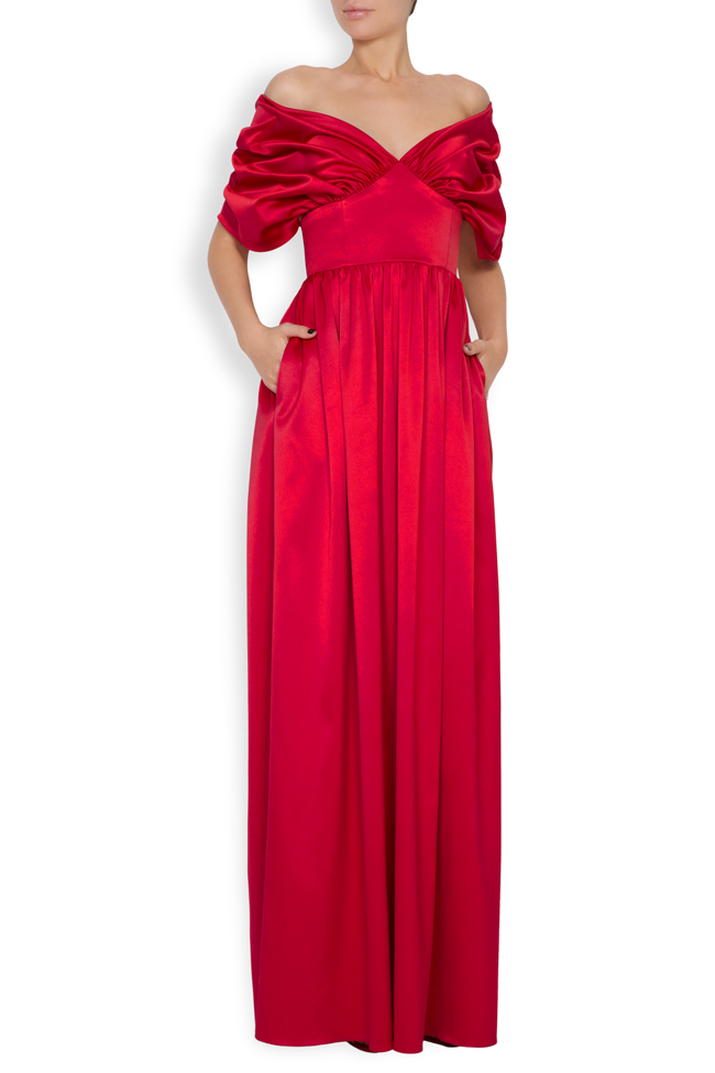 Draped off-the-shoulder satin gown Bluzat Cocktail image 0