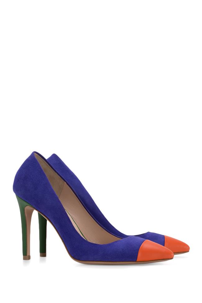 Pantofi din doua tipuri de piele Alice90 Ginissima imagine 1