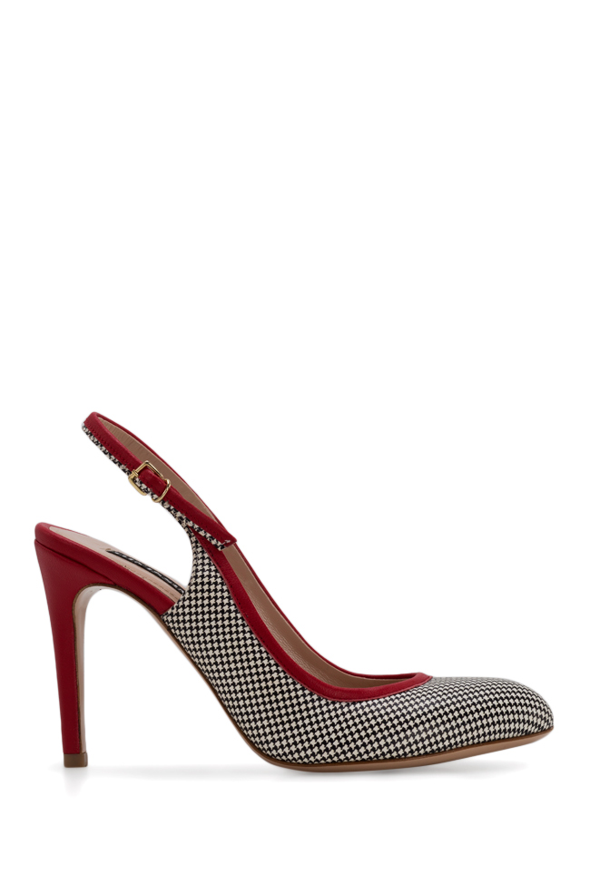 Bela90 houndstooth leather slingback pumps Ginissima image 0