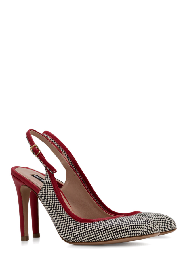Bela90 houndstooth leather slingback pumps Ginissima image 1