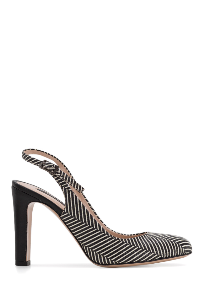Agata90 striped leather slingback pumps Ginissima image 0