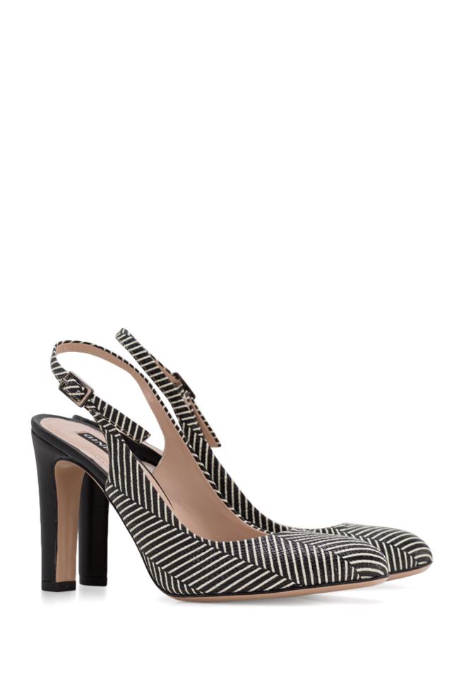 Agata90 striped leather slingback pumps Ginissima image 1