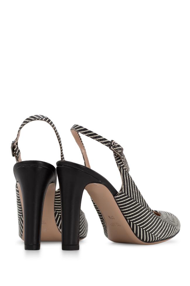 Agata90 striped leather slingback pumps Ginissima image 2