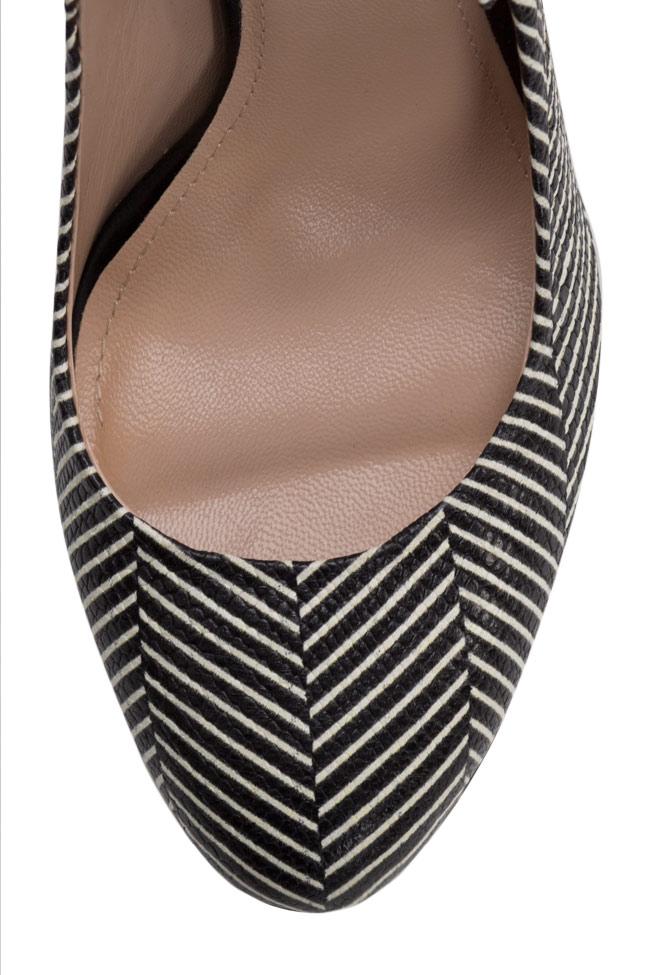 Sandale din piele imprimata cu dungi Agata90 Ginissima imagine 3