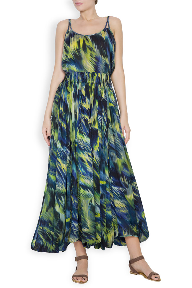 Silk-blend printed maxi skirt Daniela Barb image 0