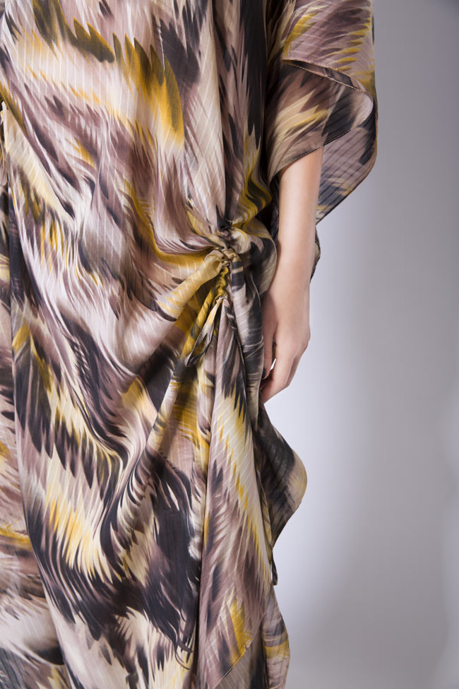 Silk-blend asymmetric printed maxi dress Daniela Barb image 3