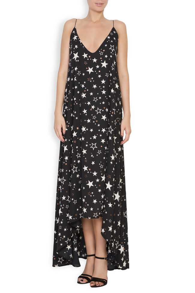 Asymmetric printed crepe midi dress Hard Coeur image 0