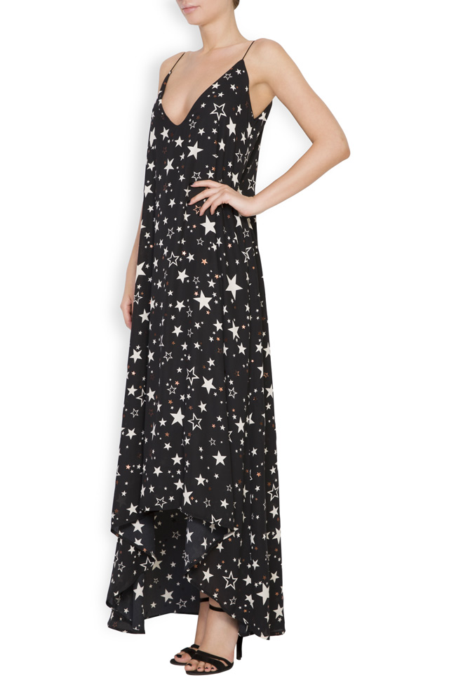 Asymmetric printed crepe midi dress Hard Coeur image 1