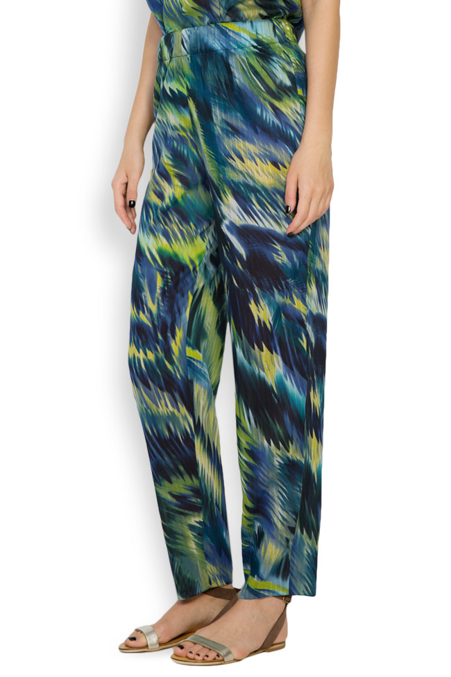 Silk-blend printed pants Daniela Barb image 1