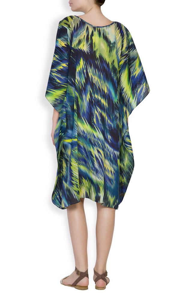 Silk-blend asymmetric printed maxi dress Daniela Barb image 2