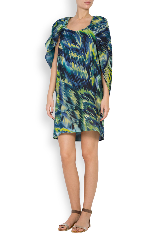 Hooded silk-blend printed maxi dress Daniela Barb image 0