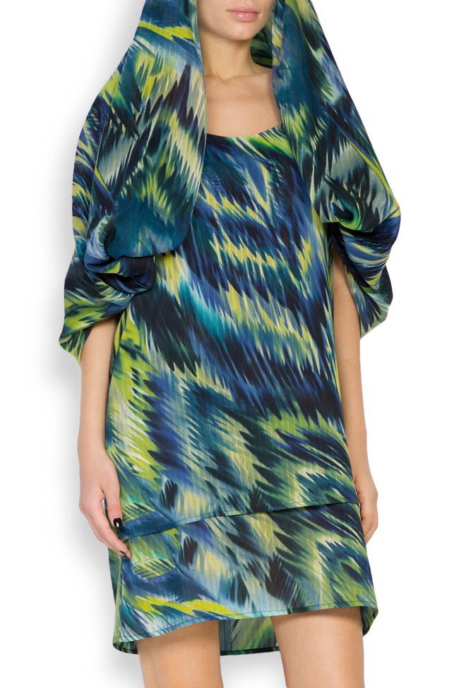 Hooded silk-blend printed maxi dress Daniela Barb image 4