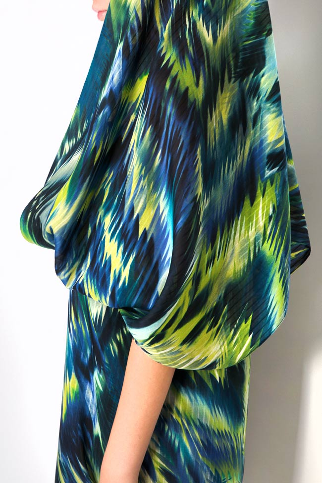 Hooded silk-blend printed maxi dress Daniela Barb image 5