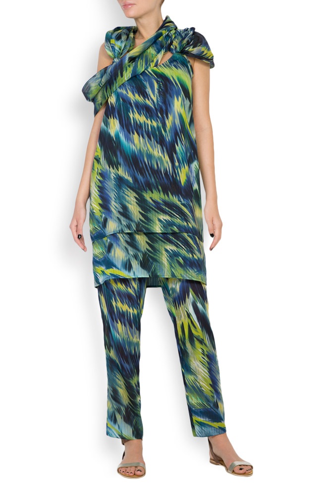 Hooded silk-blend printed maxi dress Daniela Barb image 3
