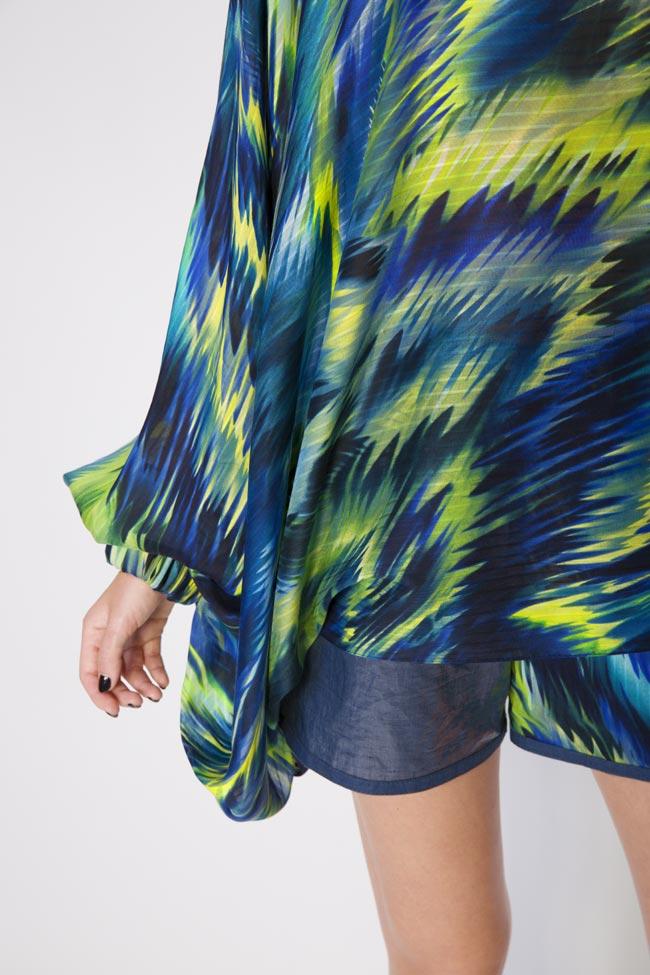 Bluza asimetrica din amestec de bumbac si matase Daniela Barb imagine 3
