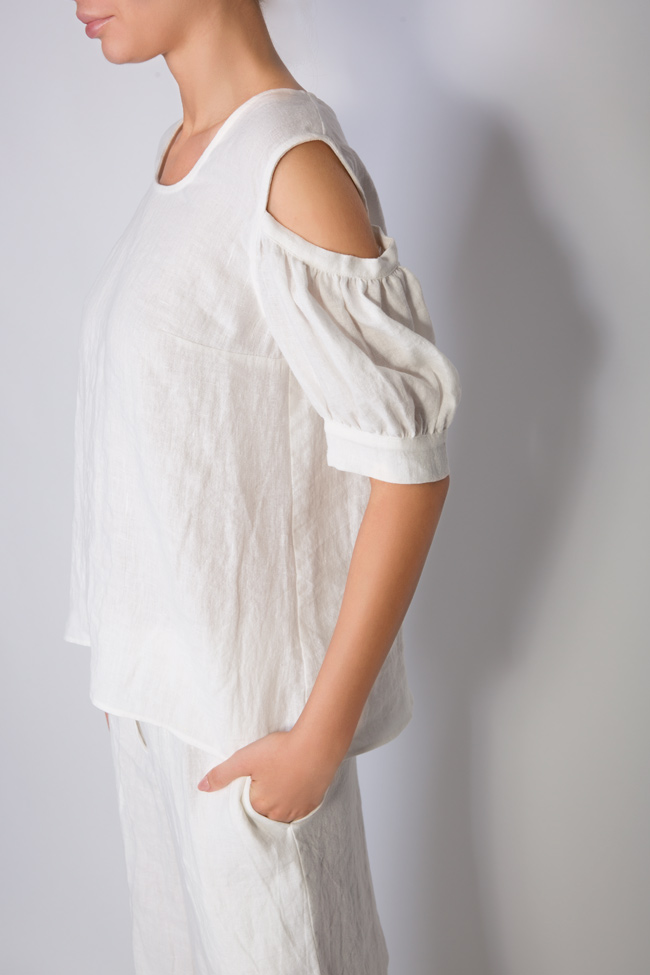 Cold-shoulder linen top Romanitza by Romanita Iovan image 3
