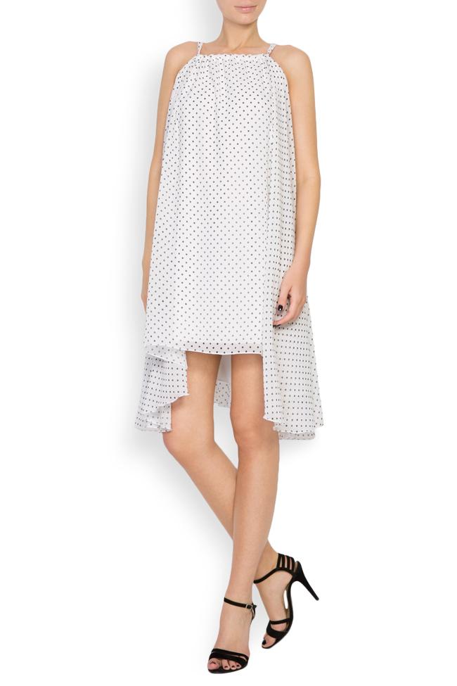 Asymmetric crepe de chine polka-dots mini dress Hard Coeur image 0