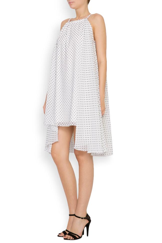 Asymmetric crepe de chine polka-dots mini dress Hard Coeur image 1