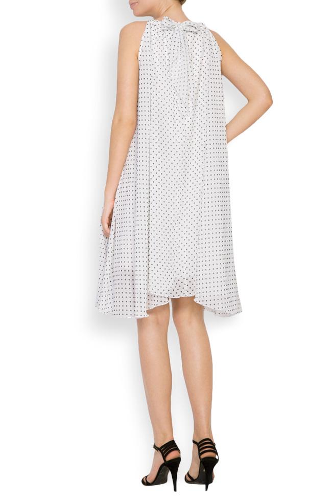 Asymmetric crepe de chine polka-dots mini dress Hard Coeur image 2