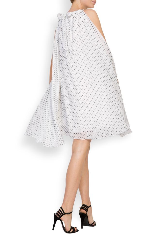 Asymmetric crepe de chine polka-dots mini dress Hard Coeur image 3