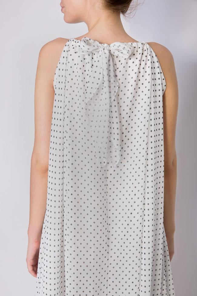Asymmetric crepe de chine polka-dots mini dress Hard Coeur image 4