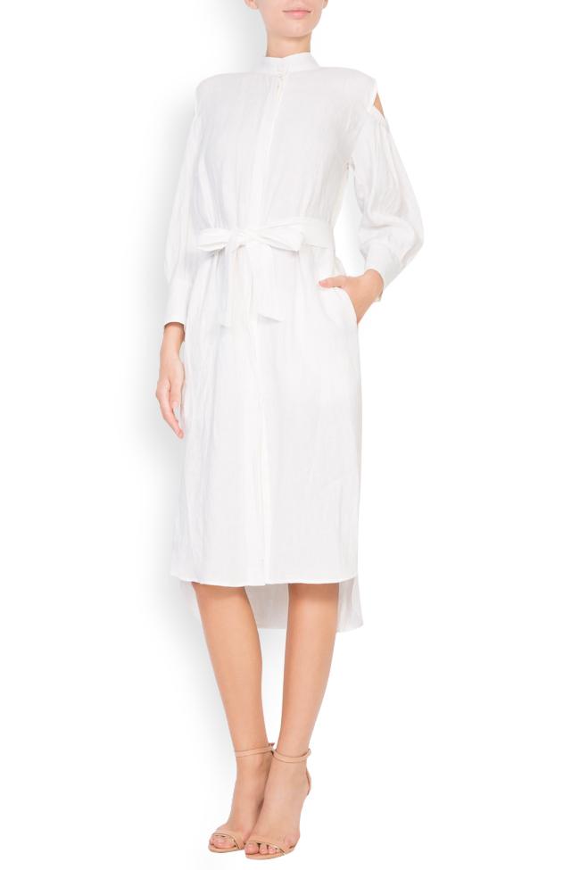 Robe asymétrique en lin avec les épaules dénudées Romanitza by Romanita Iovan image 0