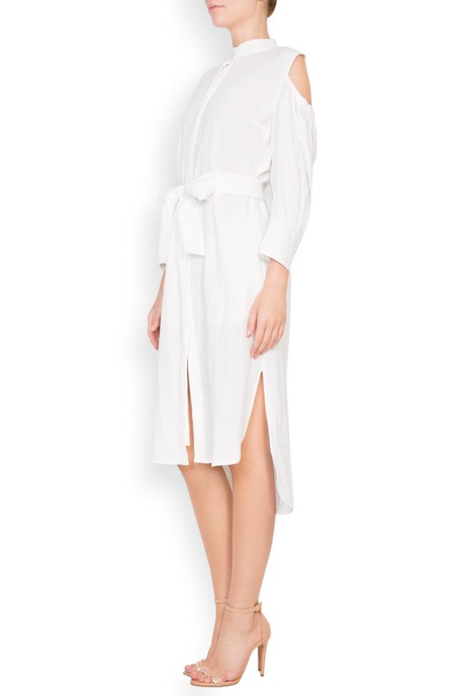 Robe asymétrique en lin avec les épaules dénudées Romanitza by Romanita Iovan image 1