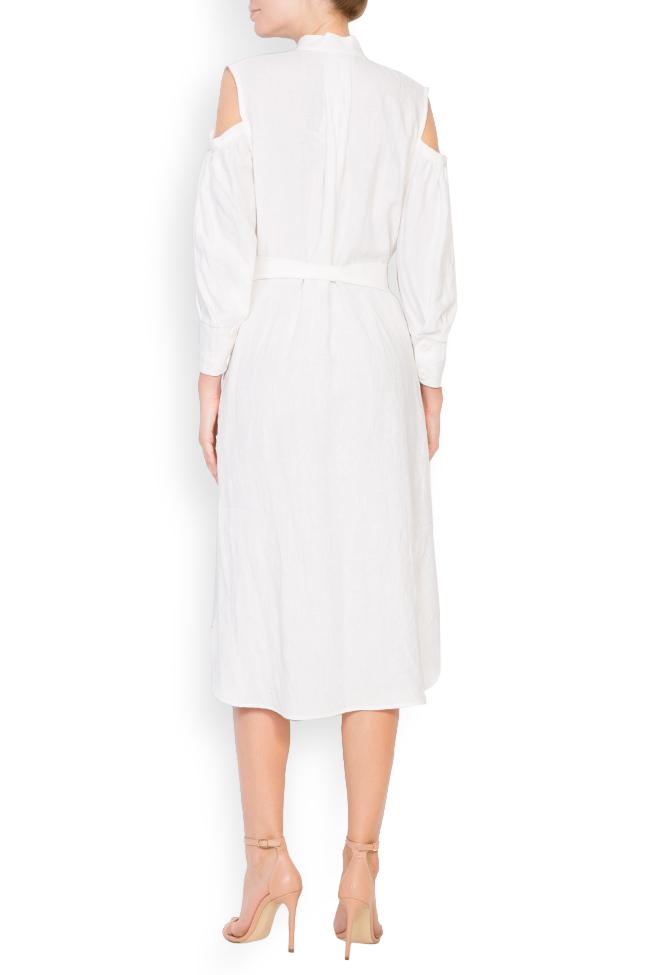 Robe asymétrique en lin avec les épaules dénudées Romanitza by Romanita Iovan image 2